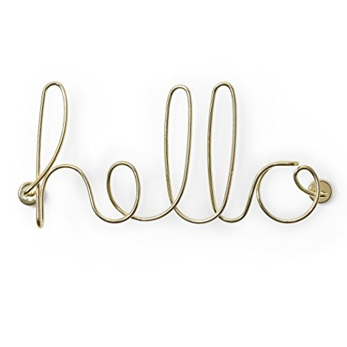 - Umbra Wire Wall Decor, Hello, Brass