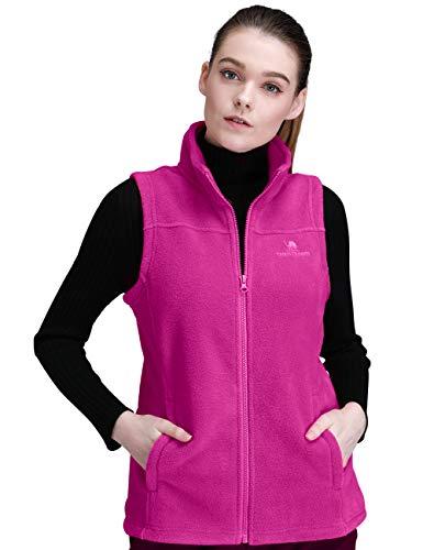 CAMEL CROWN Fleece Vest Men Women Full-Zip Sleeveless Jacket Plus Size with Pocket Lightweight Casual Gilet(Aubergine,Medium)