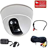 VideoSecu Dome Security Camera Built-in 1/3 Sony Effio CCD High Resolution 600TVL 3.6mm Wide View Angle Lens for CCTV Home DVR Surveillance with Bonus Power Supply, Cable CB9