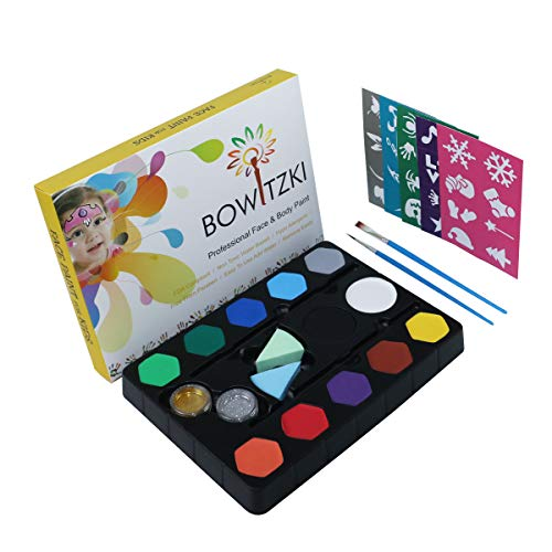 Face Paint Kit for Kids, Bowitzki 12 Colors, 40 Stencils, 2 Large Black &White, 2 Glitter, 2 Brushes, Non Toxic Water Based FDA Compliant Professional Makeup Body Painting