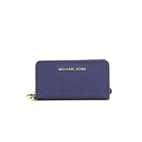 ed00c0c68dbe Michael Michael Kors Jet Set Travel Womens Blue Wallet Leather Wristlet by Michael  Kors