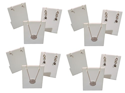 12-Pack White Leatherette Pendant Chain Necklace Display Stand 3.5