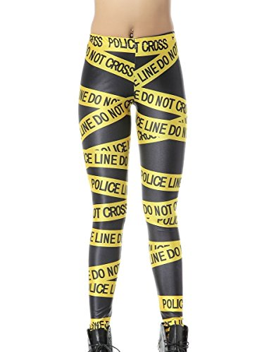 Mosszra Police Line Digital Printing Stretch Tights Ankle Leggings ()