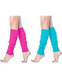 Women Juniors 80s Eighty's Ribbed Leg Warmers for Party Sports