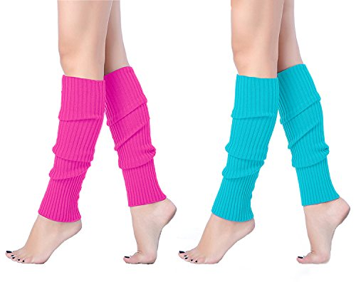 V28 Women Juniors 80s Eighty's Ribbed Leg Warmers for Party Sports (one size, 2 pack(Rose+ Lakeblue)) ()