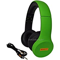 Pirelli Scorpion Green Headphones Over Ear, Foldable, Noise Isolating, Deep Bass, Microphone Mic V/C for Apple iPhone, iPod, iPad, Samsung, HTC, MP3 Bass Noise Cancelling Isolating