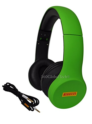 Scorpion Bass (Pirelli Scorpion Green Headphones Over Ear, Foldable, Noise Isolating, Deep Bass, Microphone Mic V/C for Apple iPhone, iPod, iPad, Samsung, HTC, MP3 Bass Noise Cancelling Isolating)