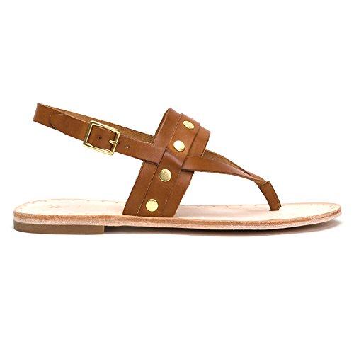 - FRYE Women's Avery Stud Thong Flat Sandal, Tan, 6 M US