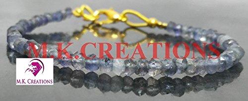 (Valentine Sale! 50Pc natural iolite Beads gold Bracelet, 18k gold filled lobester Clasp iolite Gemstone Beaded Bracelet, Handmade AAA+ iolite Bead Unisex gold)