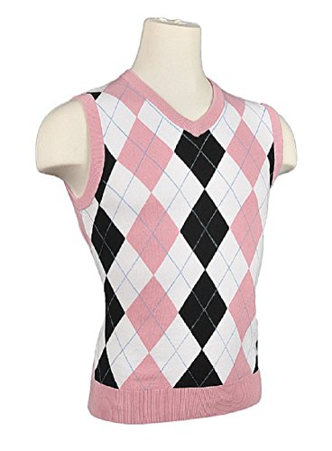 Women's Argyle Golf Sweater Vest - White/Black/Pink/Light Blue Overstitch (Small)