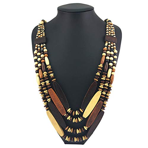 ZDHSQ Bohemian Wood Bead Long Necklaces for Women Handmade Multilayer Beaded Statement Necklace Fahion Jewelry Multicolor Necklace