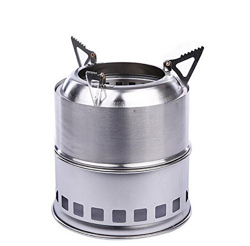 Samyo Portable Lightweight Stainless Steel Wood Burning Camping Stove for Outdoor Cooking...