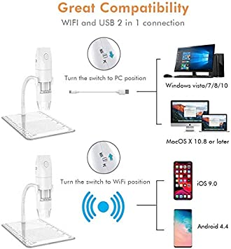 Mac,Window 7 8 10 for Kids Students,Adults 50X to 1000X Magnification USB Microscope Endoscope Camera with 8 LEDs and Microscope Stand,Compatible with Android DOOK WiFi Digital Microscope