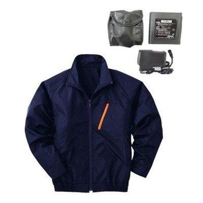空調服 ポリエステル製長袖ブルゾン P-500BN 〔カラー:ネイビー サイズ:L〕 リチウムバッテリーセット[通販用梱包品] B07DGV2JQ9
