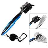 Golf Club Brush, 3-in-1 Double-Sided Soft Nylon-Bristled Shoe Scrub Brush Portable Golf Club Groove Cleaner Stretchable Brush Keychain