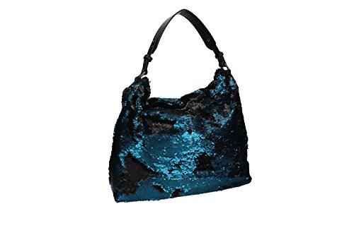 Borsa donna a spalla ANTONIO BASILE shopper blu con apertura zip VN1852