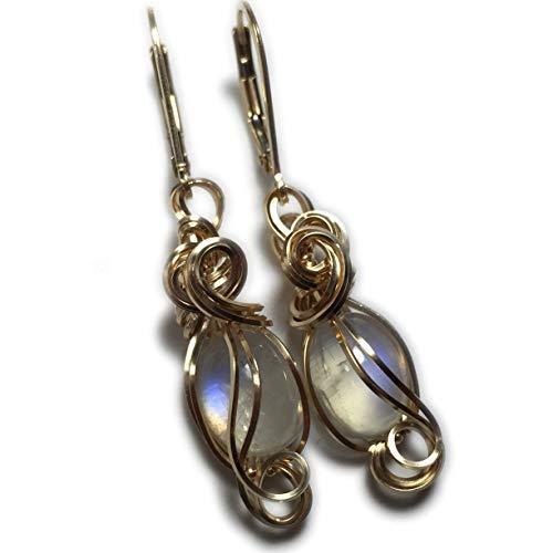 Moonstone Earrings 14K Gold Filled - Rainbow Moonstone for Women or Men Jewelry, Elegant Gift Box, Exact Gems in Picture, Rocks2Rings 108G2-7 Z