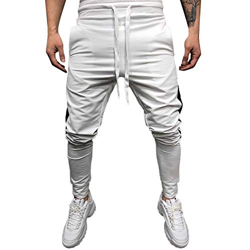 HTHJSCO Men's Athletic Skinny Track Jogger Pants Trousers, Solid Loose Patchwork Button Sweatpant (White, XXXL) by HTHJSCO