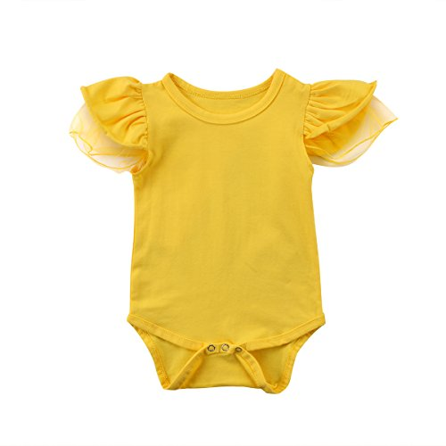 Infant Baby Girl Bodysuit Jumpsuit Clothes Lace Flutter Sleeve One-Piece Romper Cotton Summer Outfits (Light Yellow, 3-6 Months)