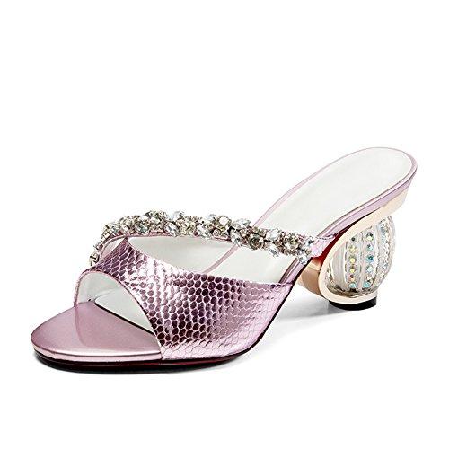 Zcjb Sandalen Vrouw Zomer Bovenkleding Schoenen Met Hoge Hakken Vis Mond Kristal Halbschuh (kleur: Roze, Maat: Eu38 / Uk5 / L: 23,5 Cm) Roze