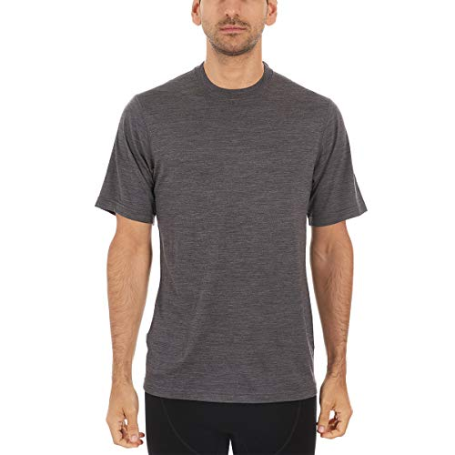 Mens Regular Merino Wool - Minus33 Merino Wool Men's Algonquin Lightweight Short Sleeve Crew, Charcoal Gray Heather, X-Large