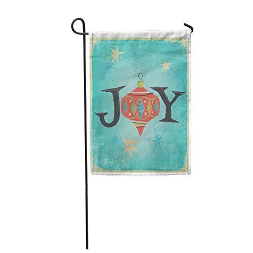 (Semtomn Garden Flag Christmas Word Joy Gold Stars Retro Inspired by Mid 28