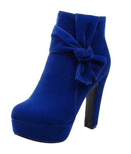 Allhqfashion Womens Tacco Alto Alla Caviglia Con Tacco Alto E Punta Tonda Blu