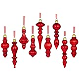 glasburg Mercury Glass Christmas Drop Finial Ornaments Antique Red(9 Ornaments)