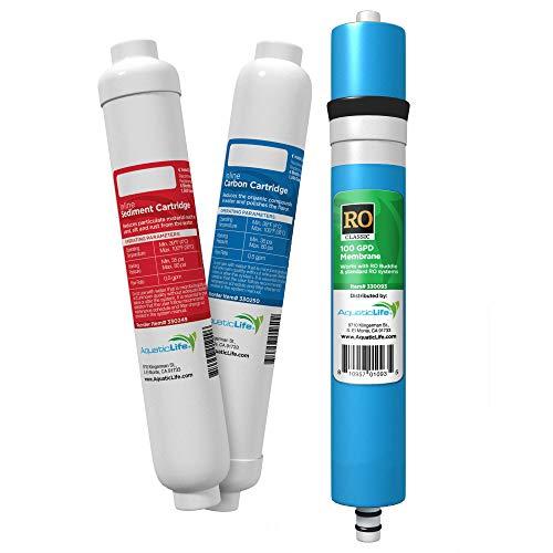 Block Filter Pre - Aquatic Life RO Buddie Filter Cartridge Value Pack, 100-GPD Membrane Plus Sediment Pre-Filter & Carbon Block Replacement Filter Cartridges (TFC, S, C)