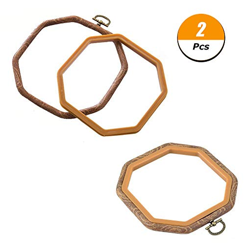 - 2 PCS Octagon Embroidery Hoops Cross Stitch Hoop Bulk Imitated Wood Embroidery Circle Set For Art Craft Frame Craft Photo Frame