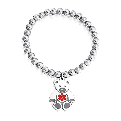 Bling Jewelry Engravable Teddy Bear Tag Charm Doctor Alert Medical ID Identification Bracelet Silver Tone Stainless - Engravable Medical Id Charms