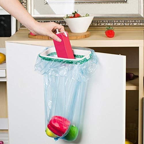 Fantasyworld Plastic Brand Rubbish Bag Storage Rack Hanging Kitchen Cupboard Door Back Stand Trash Garbage Bags Storage Rack Bag Clip Green