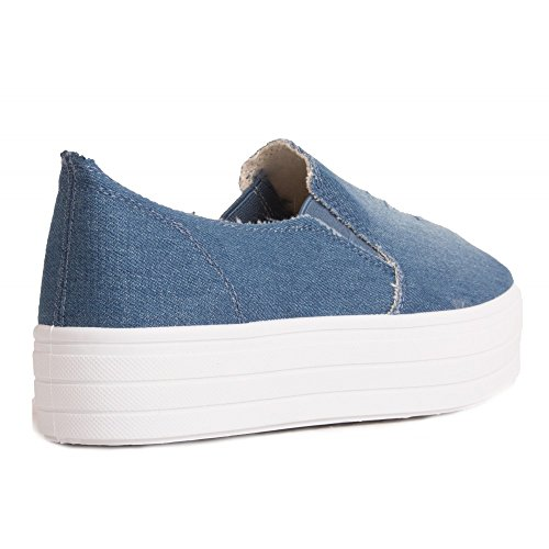 No Name Slip-On Jean Femme Type Basket Basse Semelle caoutchouc-39