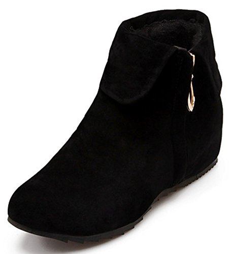 Summerwhisper Women's Stylish Faux Suede Folded Round Toe Booties Heighten Inside Side Zipper Short Ankle Boots Shoes Black (Cheap Shoes For Teen Girls)