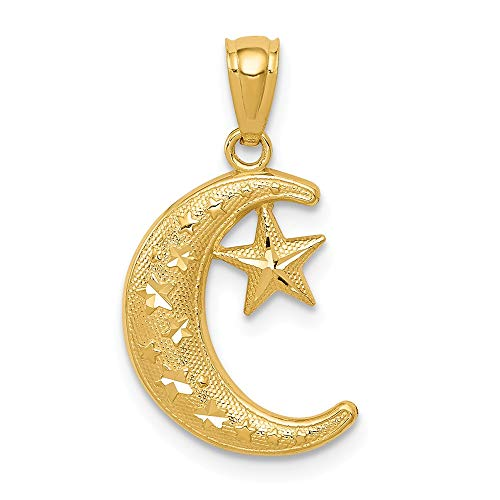 14k Yellow Gold Textured Moon Stars Pendant Charm Necklace Celestial Fine Jewelry Gifts For Women For Her