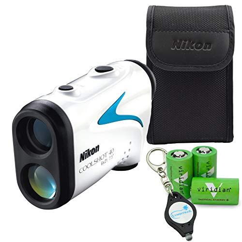 Nikon Coolshot 40 Golf Laser Rangefinder Compact, Lightweight, Rainproof Bundle with 3 Extra Viridian CR2 Batteries and a Lumintrail Keychain Light
