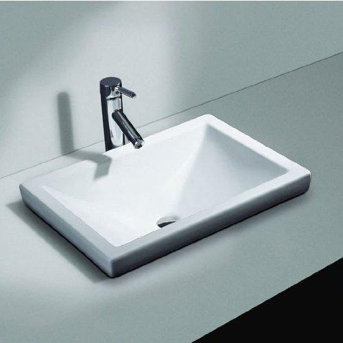 Cantrio PS-111 Ceramic Above Mount Bathroom Sink, 21 x 14...