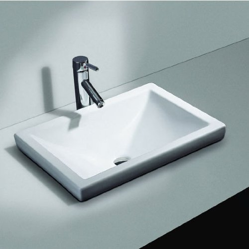 Cantrio PS-111 Ceramic Above Mount Bathroom Sink, 21 x 14.75-Inch