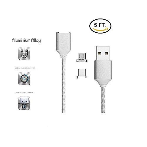 CoolKo Newest Strongest Magnet 2.1 A, 5 Feet (1.5M) Silver Magnetic Braided Micro USB Charging Cable for All Type C And Micro USB Android Smartphones and - Metal The Strongest