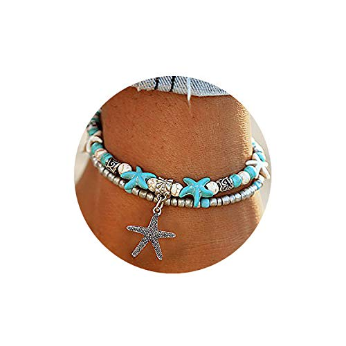 Starfish Turtle Anklets Multiple Layered Boho Gold Chain Anklet Heart Beach Rhinestone Turquoise Stone Charm -