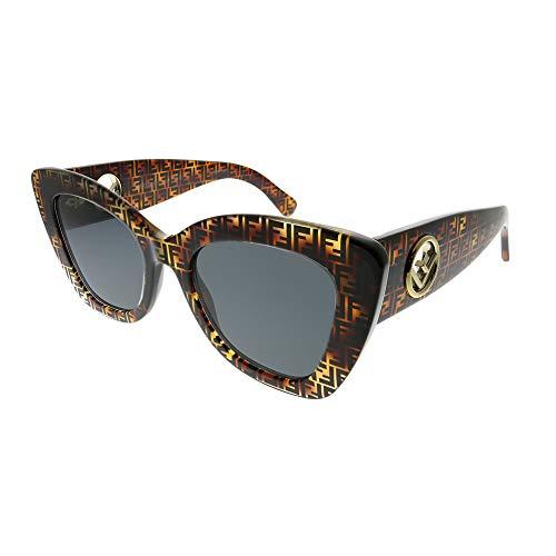 Fendi Women's Logo Narrow Cat Eye Sunglasses, Dark Havana, Brown, Print, One ()