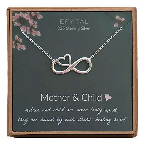 Mother Child Heart Necklace - EFYTAL Mom Gifts, 925 Sterling Silver Infinity with Heart Necklace for Mother from Child, Mom Necklaces for Women, Best Birthday Gift Ideas, Pendant Mother's Day Jewelry For Her, Mothers Day