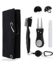 Susimond Tri-fold Golf Towels, Microfiber Waffle Pattern Golf Cleaning Towel with Retractable Club Groove Cleaner Brush, Golf Divot Repair Tool and Carabiner Clip, Golf Towels Accessories