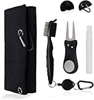 Susimond Tri-fold Golf Towels, Microfiber Waffle Pattern Golf Cleaning Towel with Retractable Club Groove Clea