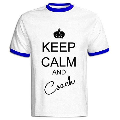 AWSY Men's Keep Calm & Coach Baseball T Shirt -