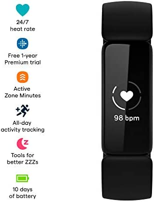 Fitbit Inspire 2 Health & Fitness Tracker with a Free 1-Year Fitbit Premium Trial, 24/7 Heart Rate, Black/Black, One Size (S & L Bands Included) WeeklyReviewer