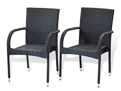 Patio Resin Outdoor Garden Deck Wicker Arm Chair. Black Color (Set of 2)