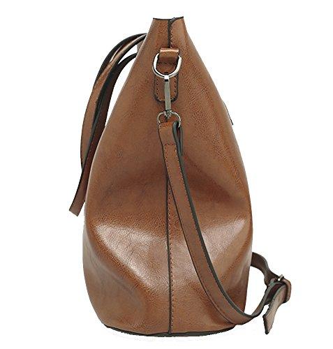 Bag Bucket Leather Body Tote Brown Casual Shoulder Women's bag PU Large Handbag QZUnique Cross qITEwCXxUn