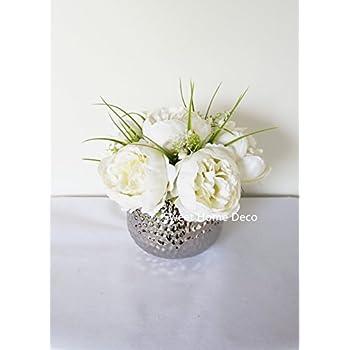 Amazon vgia artificial flowers daisy in ceramic vase sweet home deco silk peony arrangement in silver ceramic vase table flower home decor wedding centerpiece mightylinksfo