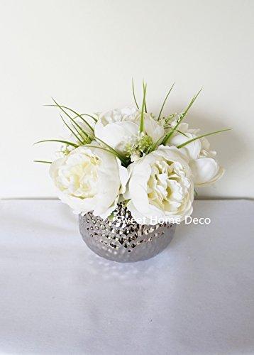 Sweet Home Deco Silk Peony Arrangement in Silver Ceramic Vase Table Flower Home Decor Wedding Centerpiece (Silk Floral Centerpieces)